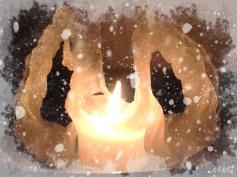 Lumihiutaleilla ja huurteella kuorrutettuna