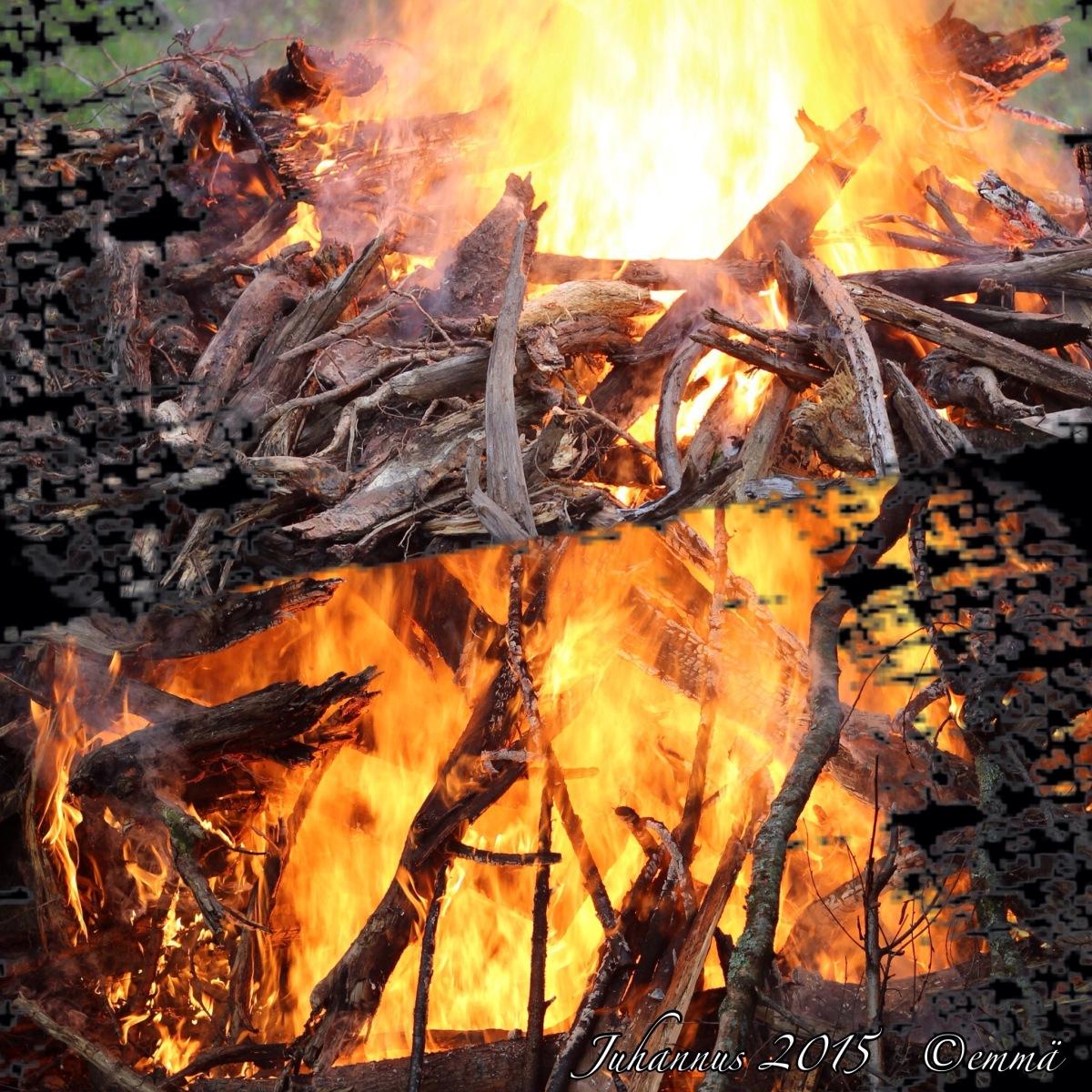 Iänikuinen vene ja pellosta nousseita puita seuranaan keveämpiä oksia palavat hyvin alkuun päästyään.